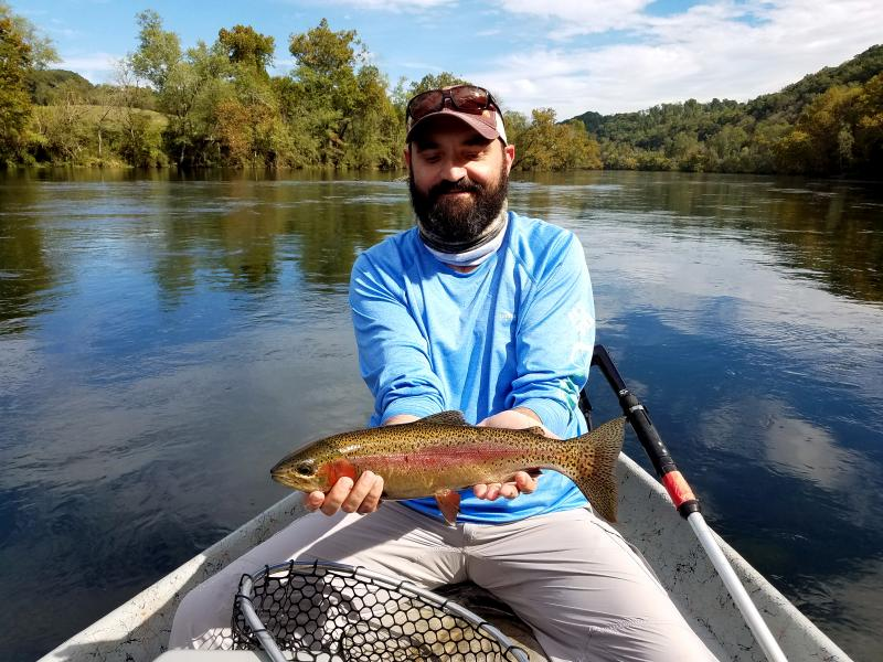 Tophy class fly fishing on guided driftboat trips in Tennessee Clinch River