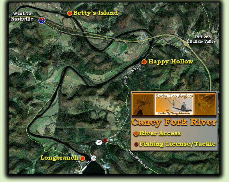 Caney Fork River Map Fly Fishing Guide
