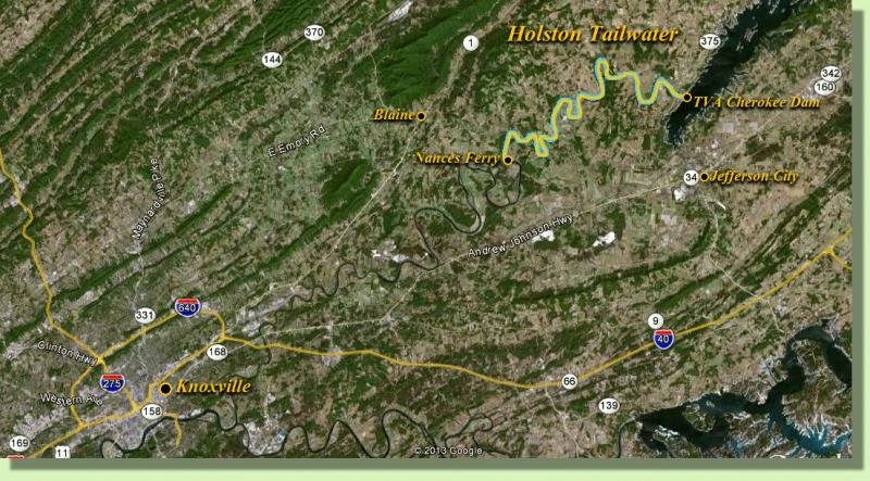 Holston RIver Knoxville Locator Map