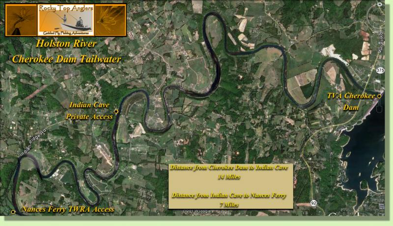 Holston River FLy Fishing Map Knoxville River GUide Rocky Top Anglers