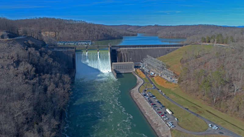 Norris Dam during 26,000 cfs spilling event