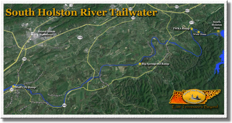 Map of the South Holston River Trout Tailwater near Bristol TN