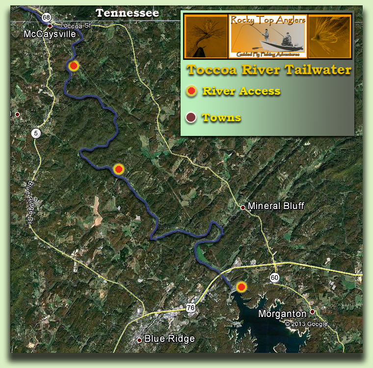 Toccoa River Map Fly Fishing Guide